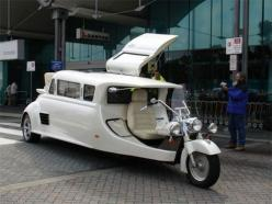 Harley Davidson Limousine. *This is awesome!! I wanna see a biker bride use this at her wedding. I can just picture a beautiful ivory gown worn with bike boots, with photos of them showing while she's riding in the back!!: Harley Davidson, Motorcycles