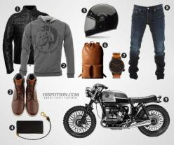 If you're a busy guy running from one coffee bar to another (cause that's what cafe racer motorcycles are for), you've got to have some style. How to look good on it: http://potion.in/cfrco