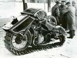 STRANGE OLDE MOTORCYCLES - 1930'S STRANGE DESIGNED WINTER MOTORCYCLE WITH FULL SNOW TRACKS