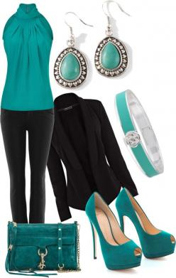 """""""Aquamarine/Turquoise"""" by stay-at-home-mom on Polyvore: Teal Outfit, Style, Complete Outfit, Stay At Home Outfit, Work Outfits, Aquamarine Outfit, Black Blazers, Turquoise Outfit"""