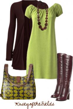 """Browns and Greens"" by kaseyofthefields on Polyvore, love the outfit & boots, ditch that ugly bag though and go w/a chocolate leather coach bag!: Fashion, Lime Green Outfit, Style, Cute Dresses, Green Brown, Browns Green, Fall Outfit, Work Out"