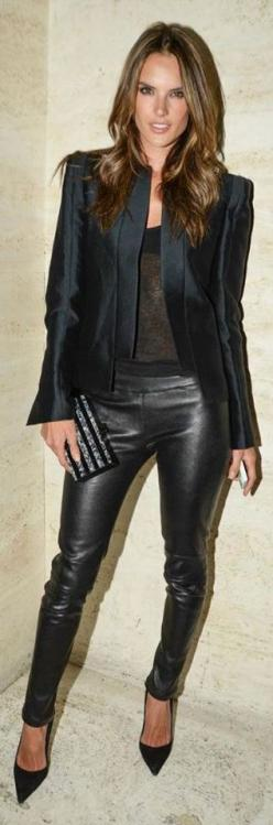 Alessandro Ambrosio | LOVE this outfit: Women S Fashion, Jbrand, Style, Alessandra Ambrosio, Outfit, Leather Pants, J Brand, Wear, Black
