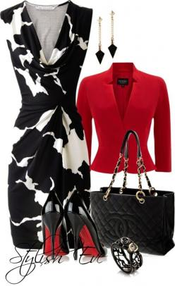 Amazing dress! Very cool cuff! Have purse. Love blazer but really don't need another in this year round heat.: Red And Black Outfit, Fashion Ideas, Ensemble Discover, Sexy Work Outfit, White Outfit, Red Blazer Outfit, Color Combination, Red Black And