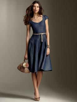 Bardot dress. I saw a women in a tan version of this dress earlier today, and she looked stunning!: Denim Dresses, Summer Dresses, Fashion, Style, Talbots, Closet, Wear