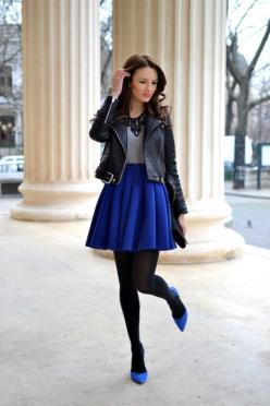 biker jacket plus royal blue skirt and sapphire heels - a nice combo of grunge and sweet find more women fashion ideas on www.misspool.com: Fashion, Blue Skirts, Black Leather, Street Style, Winter Outfit, Leather Jackets, Royal Blue Skirt, Fall Winter