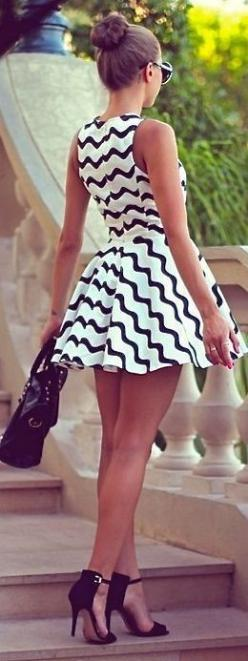 Black White Short Dress: Fashion, Summer Dress, Style, Clothes, Black And White, Dresses, Outfit, Black White