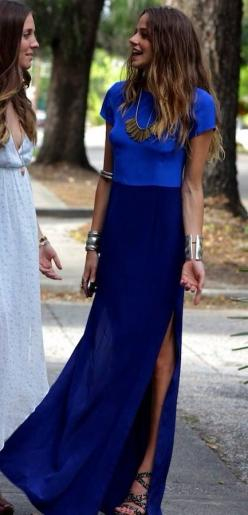 Blue on Blue: Maxi Dresses, Blue Outfit, Street Style, Cobalt Blue, Spring Summer, Blue Maxi, Royal Blue, Maxi Skirts
