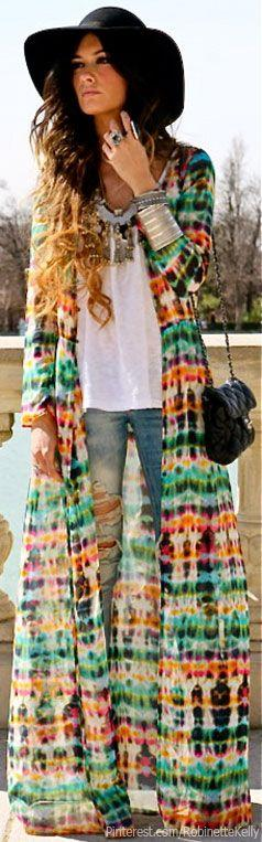 Bohemian Street Style- hijab friendly over coat! For if I EVER get to someday go to a music festival!: Duster Outfit, Bohemian Outfit, Street Style, Music Festival Outfit, Bohemian Style, Hippy Outfit