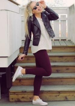 burgundy clothes 26: Style, Dream Closet, Winter Outfit, Burgundy Legging, Fall Outfit, Fall Winter, Maroon Legging, Converse Outfit