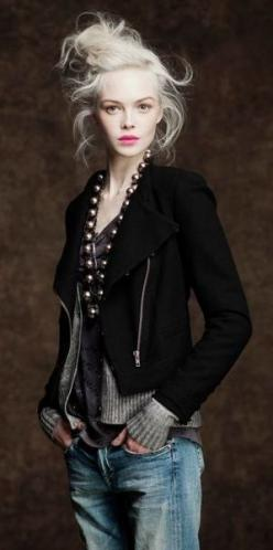 CAbi's Beautiful Moto Jacket! Let me get it for you!!$138: Crazy Hair, Fashion, Style, Blonde Hair, J Crew, Outfit, Jeans, Fall Winter