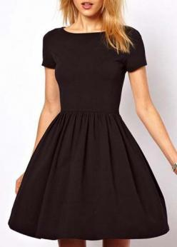 Casual Short Sleeve A Line Dress - Black: