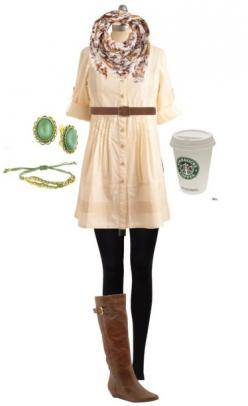 Cream dress, black tights, boots.: Style, Cute Outfits, Fall Outfits, Scarf, Fall Winter, Starbucks Cup