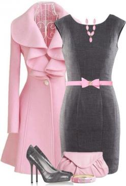 d r e s s y CHIC: Jacket, Fashion, Style, Clothes, Dress, Outfit, Pink And Gray