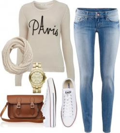 Fall / winter - street & comfy style - white sweater + skinnies + white converse + brown messenger bag: White Sweaters, Fall Style, Messenger Bags, Fashion Teen, Brown Messenger Bag, White Converse Outfit, Comfy Style, Fall Winter