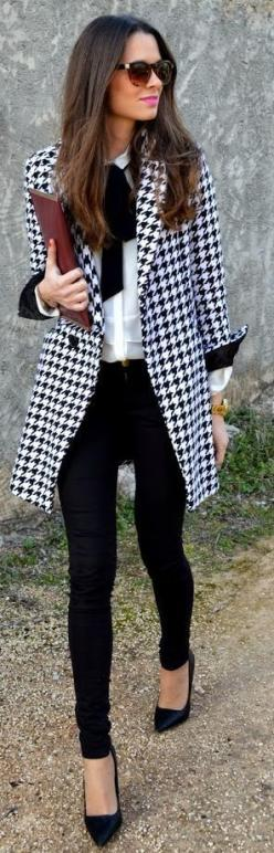 Fall / Winter - street chic style - business casual - office wear - work outfit - black skinnies black stilettos black sunglasses burgundy clutch black and white harris tweed coat white shirt black bow: Winter Work Outfit, Classy Outfit, Office Work Outfi