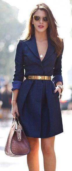Gorgeous royal navy dress with belt: Gold Belts, Navy Gold, Style, Business Outfit, The Dress, Navy Dress, Navy Blue Dress