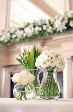 How about all white flowers? @ronniiieee Roses would be cheapest.: Beautiful Flower, Centerpiece, White Flowers, Wedding Ideas, Flower Arrangements, Floral Arrangement, Center Piece