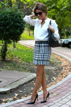I'm really liking these business looks where everything's pretty simple save for one statement piece like this skirt.: Fashion, Style, Business Look, Business Attire, Work Outfits, White Top, Work Attire