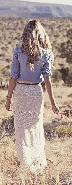 Lace Maxi skirt + Chambray shirt: Style, Dream Closet, Chambray Shirts, Outfit, Lace Maxi Skirts, Lace Skirt