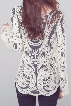 : Lace Tops, Lace Blouses, Fashion Style, Dream Closet, Ivory Black, Outfit, Long Sleeve, Sleeve Lace
