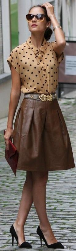 LOVE: Polka Dots, Fashion, Brown Leather Skirt, Leather Skirts, Street Style, Dress, Outfit, Polkadots