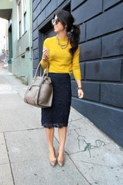 Love the navy and mustard together:) The bag and shoes rock too:): Black Lace, Style, Dress, Workoutfit, Pencil Skirts, Work Outfits, Lace Skirt, Yellow Sweater