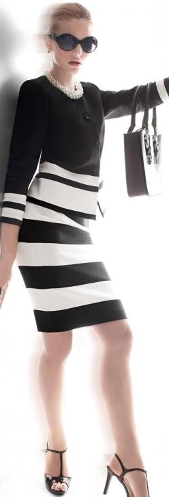 Madeleine - Classic black & white: Black White Chic, Black And White, Clothes, Dress, Cindy S Style, Stripes Fashion, Classic Black