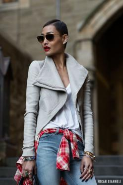 Micah Gianneli_Jesse Maricic photographer_Controle Creatif_Kookai_Levi's_Wittner_Sophie Hulme_Ray Ban_OPSM_Street style fashion editorial_Be...: Outfits, Gray Leather, Fashion Style, Clothes, Street Style, Street Styles, Plaid Shirts, Leather Jackets,