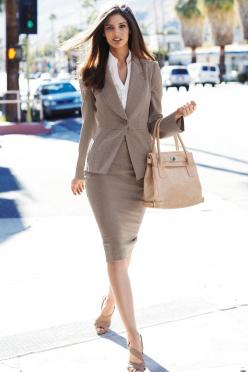 Neutral colored suit.  I do not believe in trouser suits.  Skirts suits are far more tasteful: Office, Women S, Business Fashion, Business Attire, Work Style, Work Outfits, Skirt Suit, Business Professional