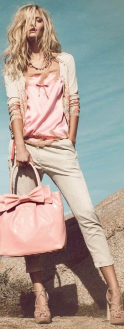 Neutral outfit: Fashion, Street Style, Spring Summer, Outfit, Pale Pink
