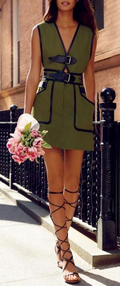 Olive & Lace Up Sandals // #street #fashion: Dresses Business Casual Formal, Jewlery Hair Makeup Outfits, Fashionista, Mini Dresses, Dresses Locked, Joan Small, Olive Dress Outfit, Olive Green Dresses, Fun Dresses