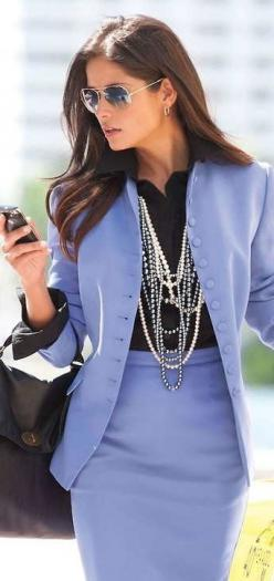 On the street - lavender suit w/layered chains.          C/S: Blue Outfit, Colored Suit, Women Business Suit, Madeleine Fashion, Periwinkle Color