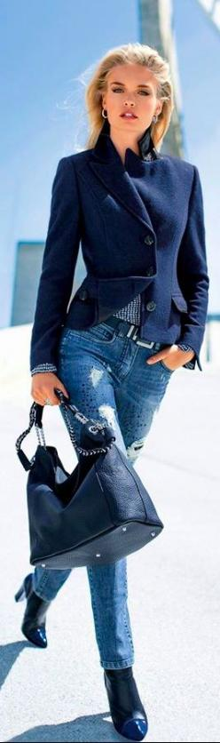 Proper Boston street style and chic fashion | sexy blonde in blue walking down the street | take my breath away beaute | #thejewelryhut: Jacket, Street Fashion, Denim Style, Street Style, Denim Outfit, Blue Jeans, Denim Jacket Outfit, Jean Jacket Outfit,
