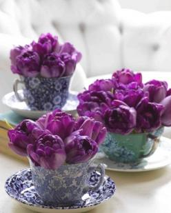 radiant tulips: Tea Party, Tea Time, Idea, Purple Tulip, Teas, Wedding, Tea Cups, Flowers, Teacups