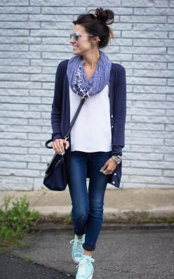 Simple Look for Fall. Mint Shoes, Navy & White: Fashion, Style, Dream Closet, Converse, Fall Outfit, Casual Outfits, Scarf, Fall Winter