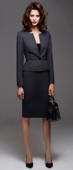Skirt suit City working grey  looking fabulous: Tailored Jacket, Skirt Suit