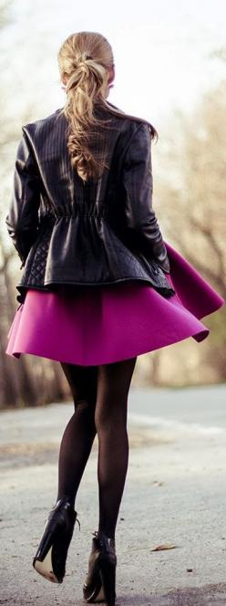 Street style More: Black Leather Jackets, Fashion Style, Skirts, Clothes, Street Style, Jackets Fashion, Dresses, Pink Dress