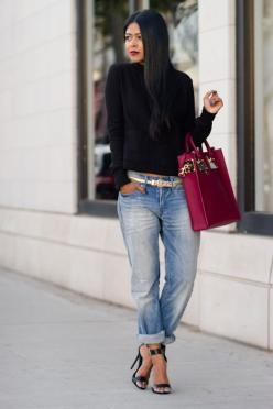 The Most Adorable Street Style For Every Girl. .love the boyfriend jeans cuffed. very cute.: Adorable Street, Every Girl, Boyfriend Jeans, Casual Outfit, Fashion Design, Stained Lips, Street Styles, Fall Outfit