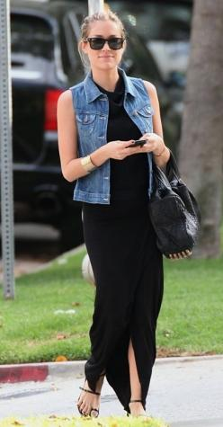 The never ending quest for the perfect black maxi dress continues. Neeeed for summer!: Denim Vests, Black Maxi Dress, Style, Kristin Cavallari, Spring Summer, Jean Vest, Black Dress