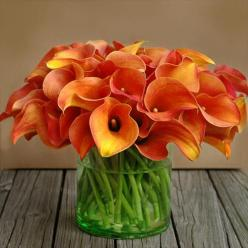 These lilies are gorgeous...Actually saw some for sale at BJ's today. Sorry I didn't pick some up!: Orange Calla, Color, Calla Lilies, Wedding, Floral Arrangement, Flowers, Calla Lily, Calla Lillies, Favorite Flower