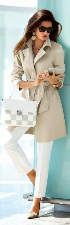 Top 7 Business Lady Looks Spring 2015 – Cream coat, IPad and grey & white cubes bag.: Jacket, Trench Coat Outfit, Style, Trenchcoat, White Pants, Madeleine Fashion, Trench Coats