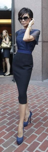 Victoria Beckham: Beckham Style, Victoriabeckham, Pencil Skirts, Work Outfit, Victoria Beckham Outfit, Navy Pencil Skirt, Victoria Beckham Dress