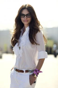 White on white: Women S, Blouses, Fashion, All White, Style, Outfit, Scarf