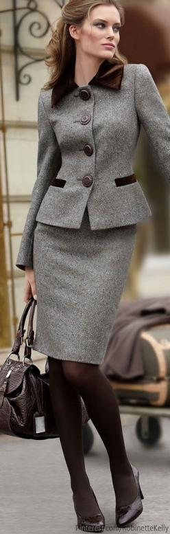 Would like it a bit longer for my taste, but still classy!: Women S, Fashion, Grey Suits, Street Style, Outfit, Styles, Skirt Suit, Office Style