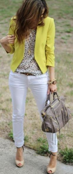yellow blazer white jeans blouse. women fashion clothing style apparel @RORESS closet ideas: Style, Color, Spring Summer, White Pants, Work Outfit, White Jeans, Yellow Blazer
