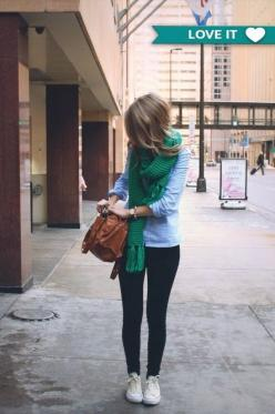 Yep. Looks like me. Even wearing white converses like me. Lol: White Converse, Fashion, Green Scarves, Street Style, Fall Outfit, Scarfs, Fall Winter, Green Scarf
