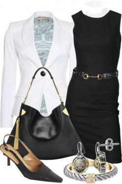 """""""Black & White"""" by gangdise on Polyvore: Clothes Shoes Bags Accessories, Style Fashion Clothes, White Blazer, Interviewoutfit Workoutfit, Black White, Work Outfits, Clothing Attire, Workoutfit Bfcloset, Chick Clothing"""
