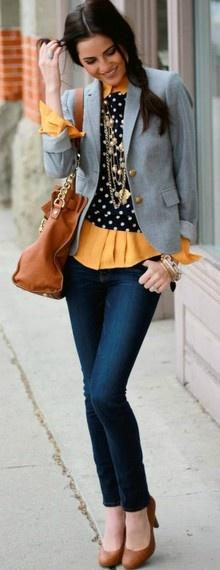 Add feminine accessorizes to  a menswear-inspired outfit by layering on chunky necklaces and bangles.: Polka Dots, Style, Grey Blazers, Outfit, Gray Blazer, Casual Fridays, Yellow Sweater