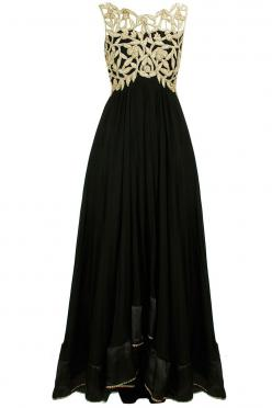 Black cut-work anarkali set available only at Pernia's Pop-Up Shop.: Gold And Black Prom Dress, Black Gold Prom Dress, Black And Gold Prom Dress, Black And Gold Dress, Black And Gold Gown, Black Gold Bridesmaid Dress, Anarkali Dress, Gold And Black Dr