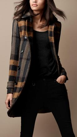 Burberry Brit Mid-Length Woven Check Wool Trench Coat. Love this coat: Burberry Coat, Mid Length, Style, Woven Check, Check Wool, Trench Coats, Christmas Gift, Fall Winter, Wool Trench Coat